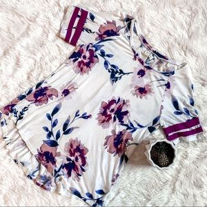 Maurices 24/7 long floral shirt top medium